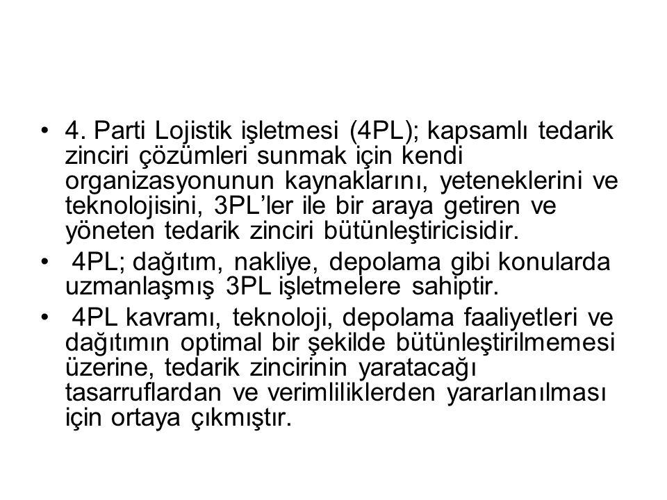 4. Parti Lojistik işletmesi (4PL); kapsamlı tedarik zinciri çözümleri sunmak için kendi organizasyonunun kaynaklarını, yeteneklerini ve teknolojisini, 3PL'ler ile bir araya getiren ve yöneten tedarik zinciri bütünleştiricisidir.