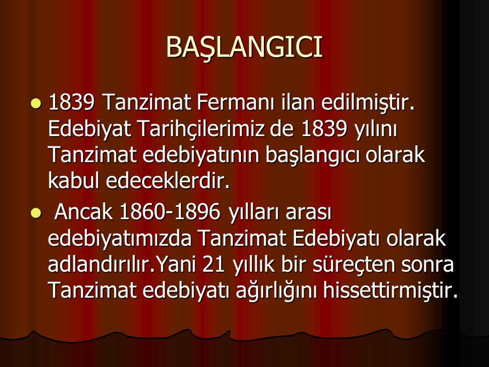 BAŞLANGICI 1839 Tanzimat Fermanı ilan edilmiştir. Edebiyat Tarihçilerimiz de 1839 yılını Tanzimat edebiyatının başlangıcı olarak kabul edeceklerdir.