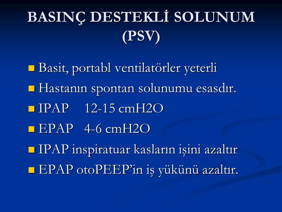 BASINÇ DESTEKLİ SOLUNUM (PSV)