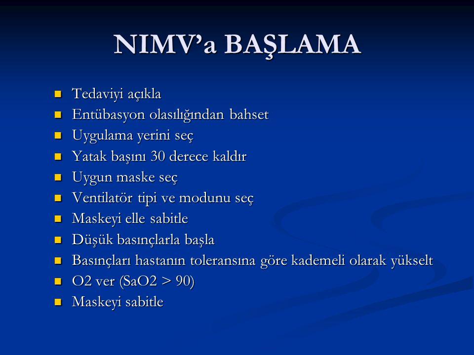 NIMV'a BAŞLAMA Tedaviyi açıkla Entübasyon olasılığından bahset