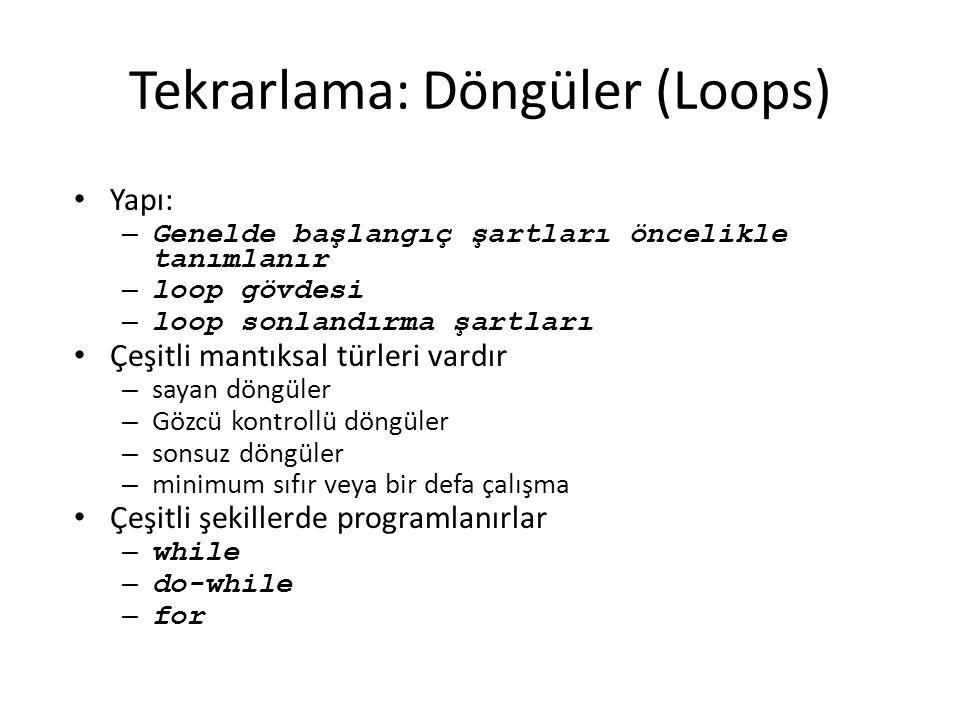 Tekrarlama: Döngüler (Loops)