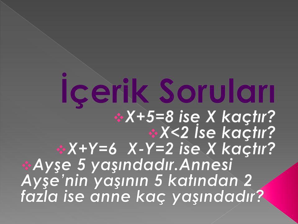 İçerik Soruları X+5=8 ise X kaçtır X<2 İse kaçtır