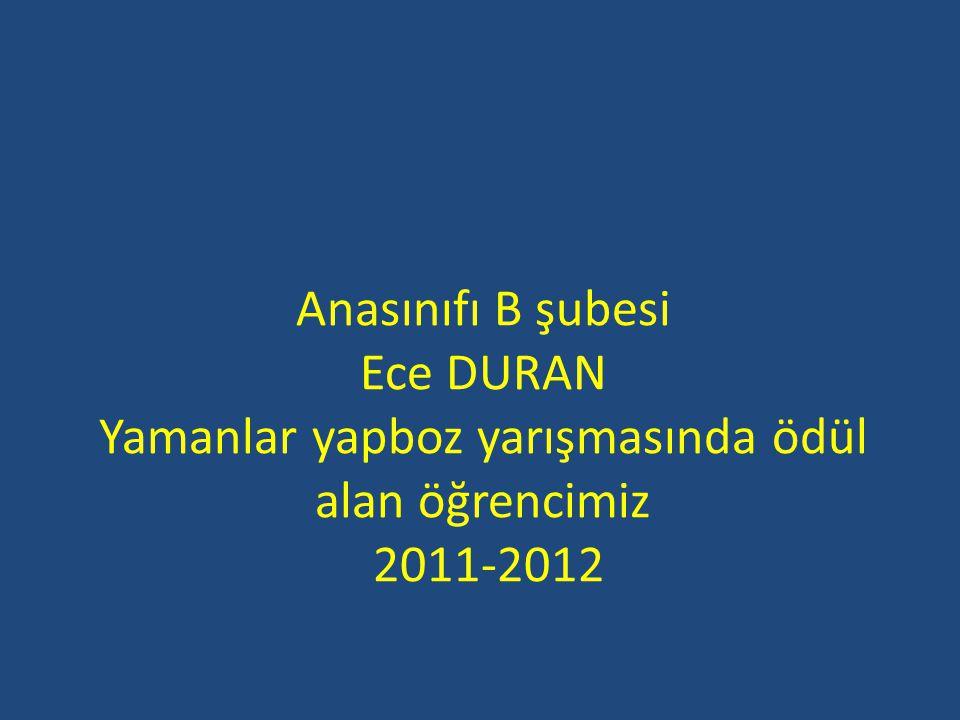 Anasınıfı B şubesi Ece DURAN Yamanlar yapboz yarışmasında ödül alan öğrencimiz 2011-2012
