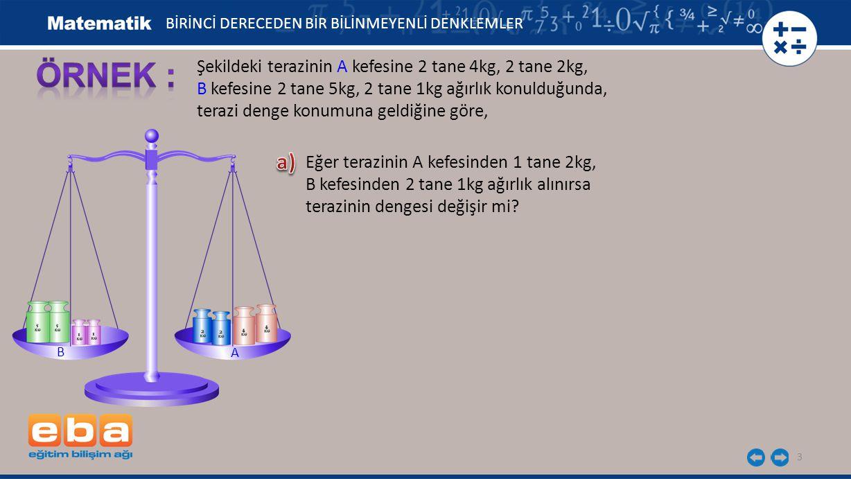 ÖRNEK : a) Şekildeki terazinin A kefesine 2 tane 4kg, 2 tane 2kg,