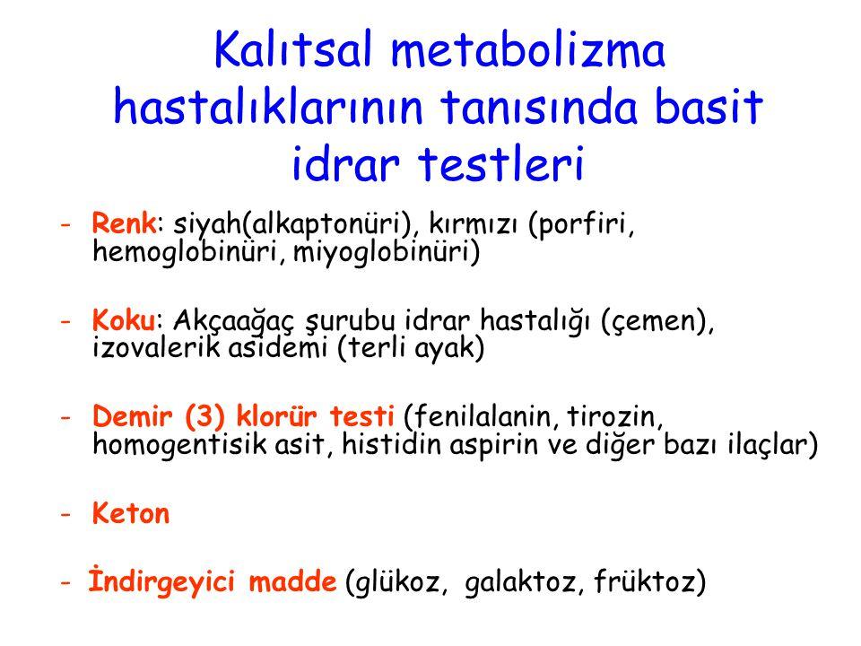 Kalıtsal metabolizma hastalıklarının tanısında basit idrar testleri