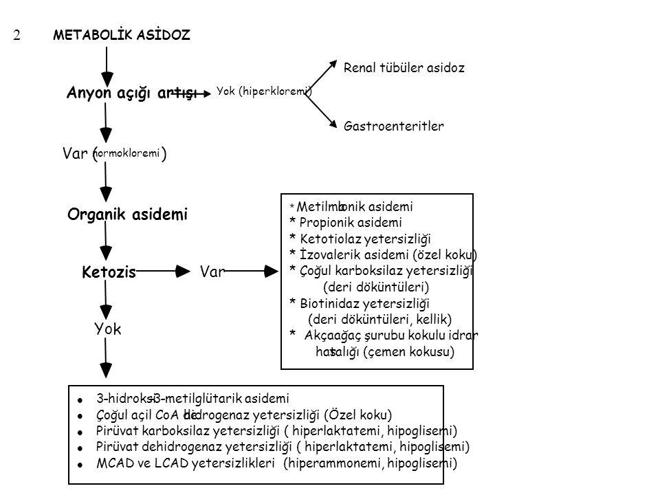 2 Var ( ) Organik asidemi Ketozis Anyon açığı artışı Yok Var
