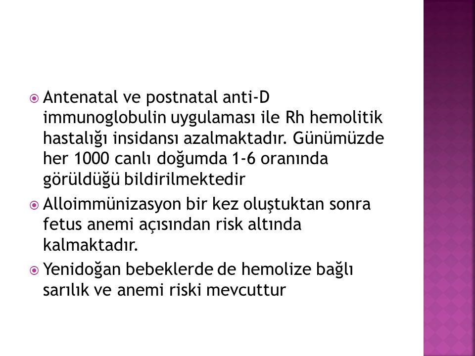 Antenatal ve postnatal anti-D immunoglobulin uygulaması ile Rh hemolitik hastalığı insidansı azalmaktadır. Günümüzde her 1000 canlı doğumda 1-6 oranında görüldüğü bildirilmektedir