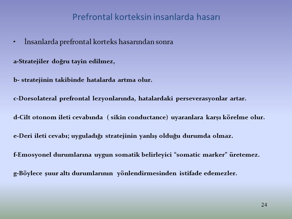 Prefrontal korteksin insanlarda hasarı