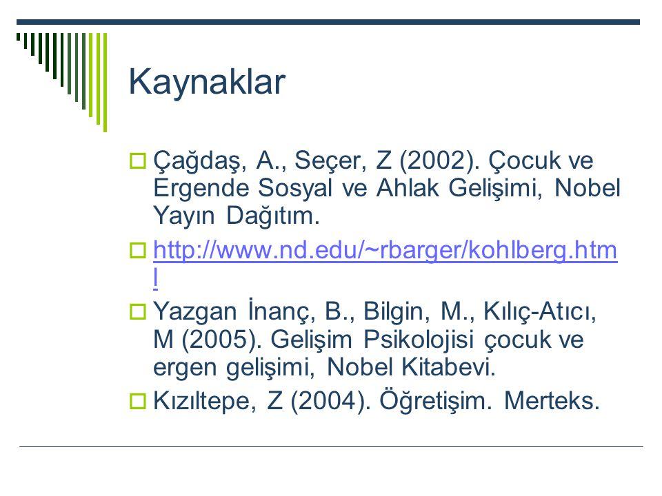 Kaynaklar Çağdaş, A., Seçer, Z (2002). Çocuk ve Ergende Sosyal ve Ahlak Gelişimi, Nobel Yayın Dağıtım.