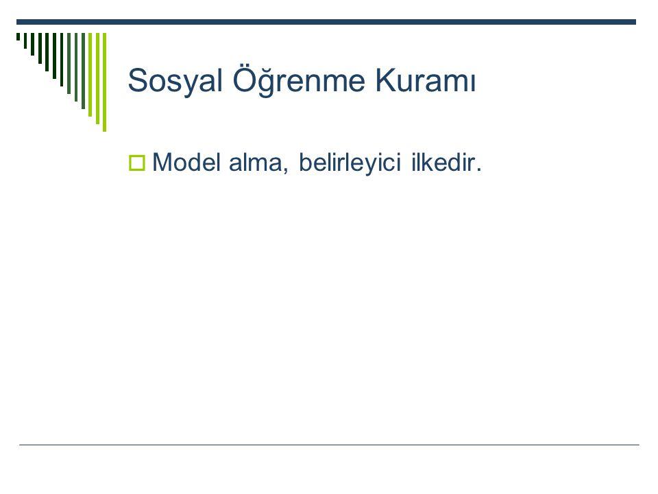 Sosyal Öğrenme Kuramı Model alma, belirleyici ilkedir.