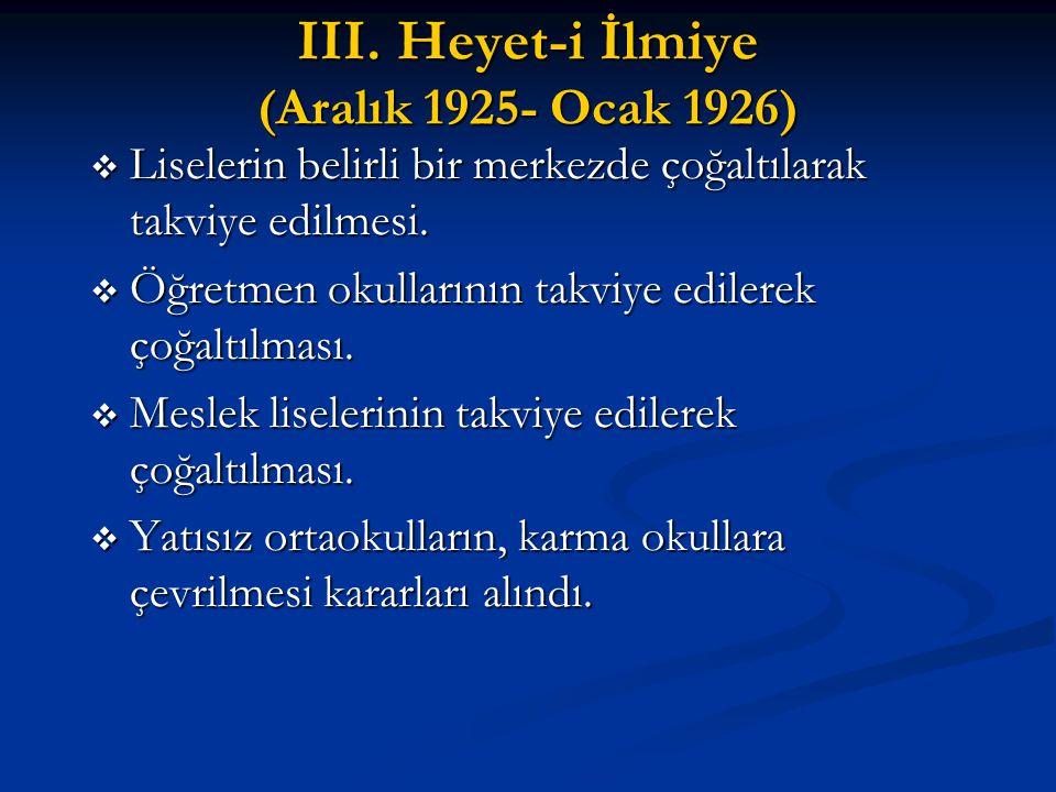 III. Heyet-i İlmiye (Aralık 1925- Ocak 1926)