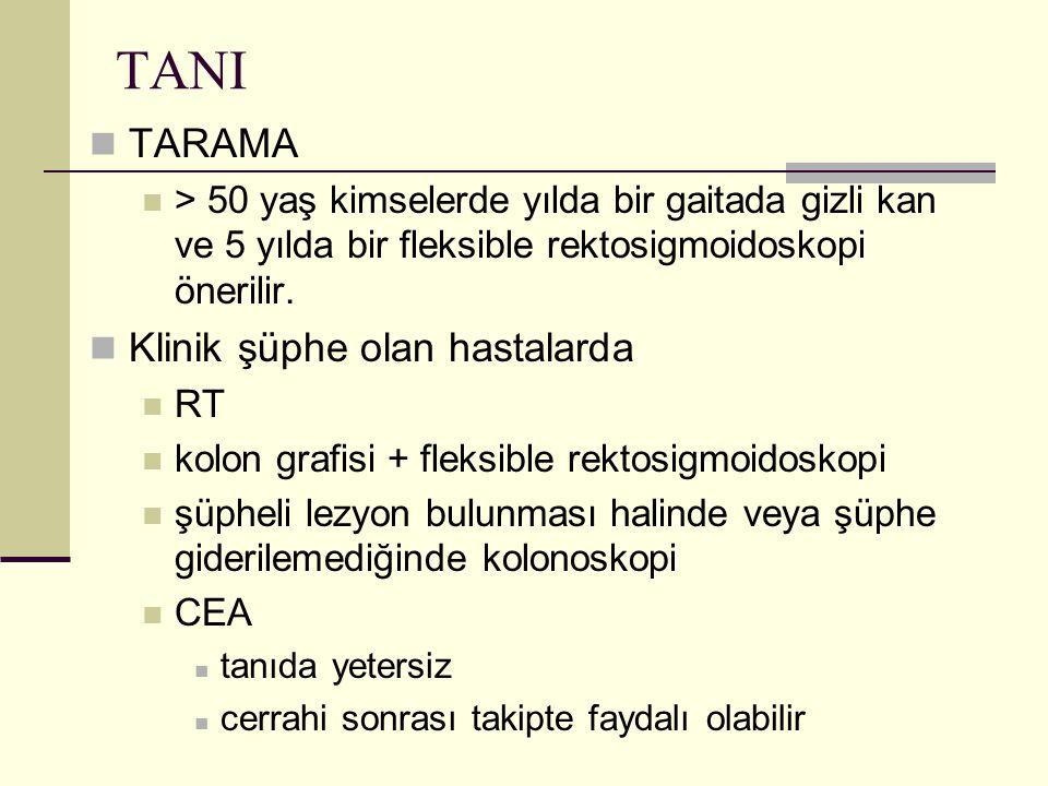 TANI TARAMA Klinik şüphe olan hastalarda