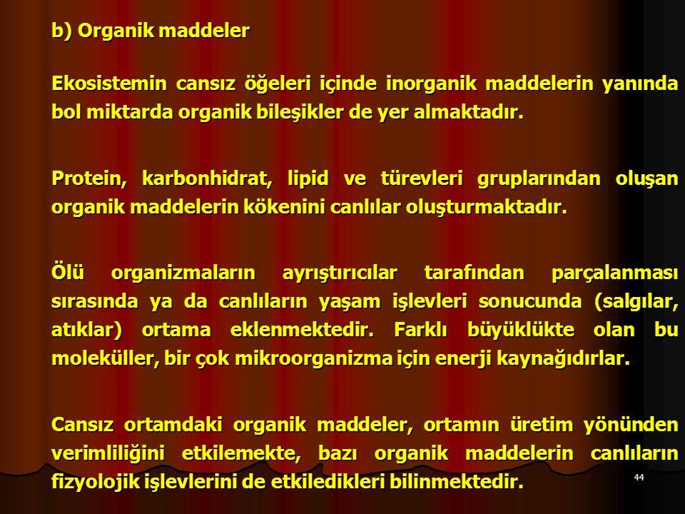 b) Organik maddeler Ekosistemin cansız öğeleri içinde inorganik maddelerin yanında bol miktarda organik bileşikler de yer almaktadır.