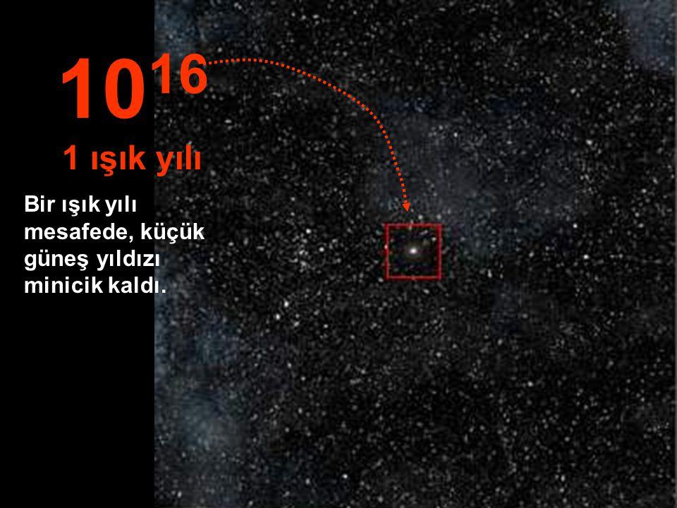 1016 1 ışık yılı Bir ışık yılı mesafede, küçük güneş yıldızı minicik kaldı.