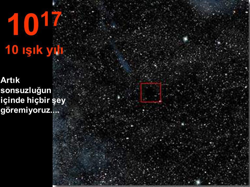1017 10 ışık yılı Artık sonsuzluğun içinde hiçbir şey göremiyoruz....