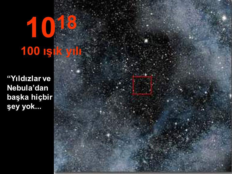 1018 100 ışık yılı Yıldızlar ve Nebula'dan başka hiçbir şey yok...