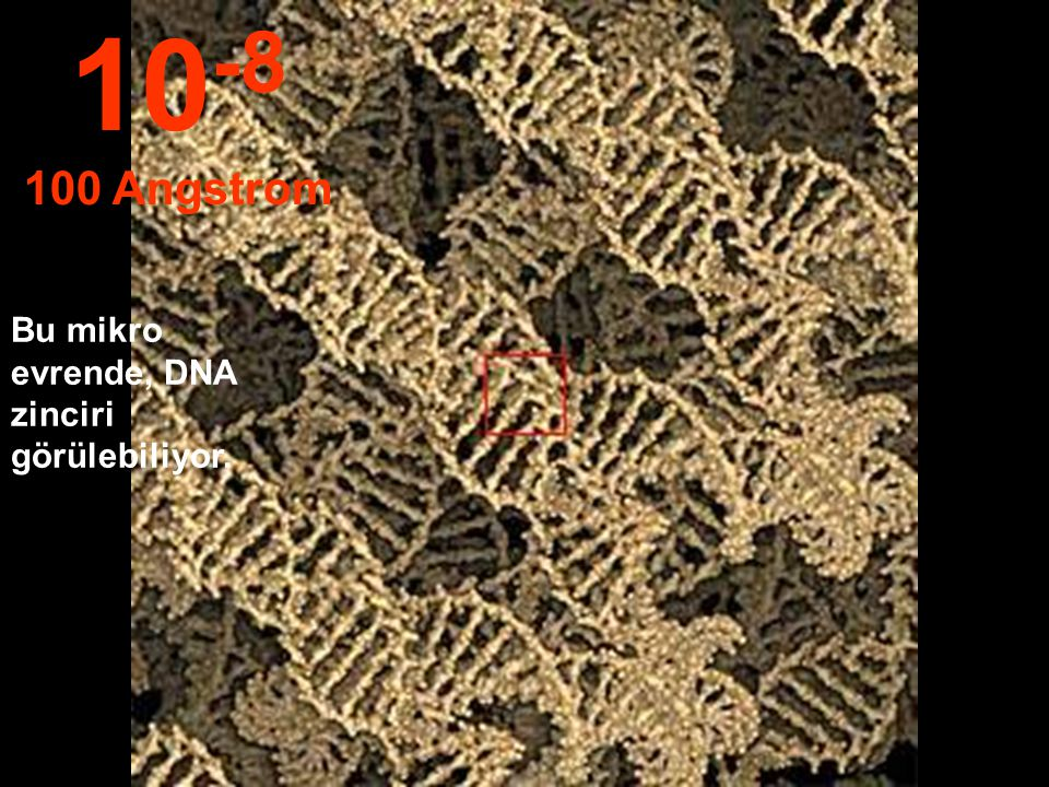 10-8 100 Angstrom Bu mikro evrende, DNA zinciri görülebiliyor.