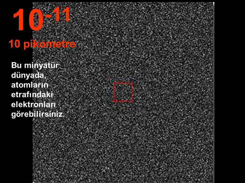 10-11 10 pikometre Bu minyatür dünyada, atomların etrafındaki elektronları görebilirsiniz.