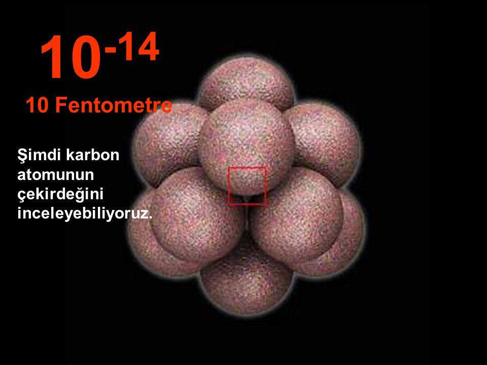 10-14 10 Fentometre Şimdi karbon atomunun çekirdeğini inceleyebiliyoruz.