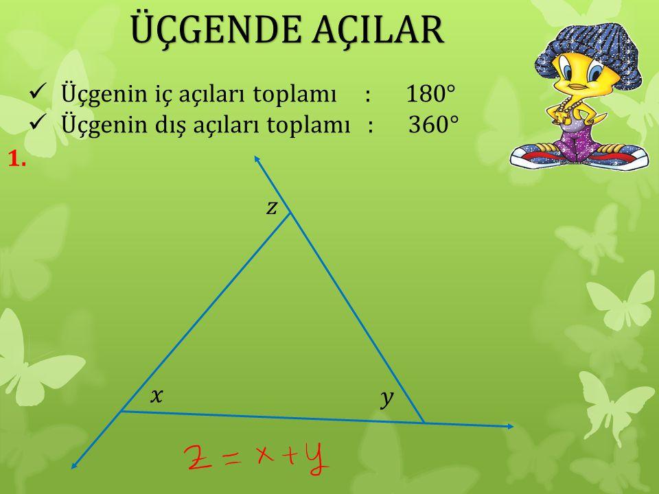 ÜÇGENDE AÇILAR Üçgenin iç açıları toplamı : 180°
