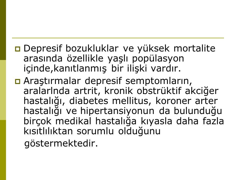 Depresif bozukluklar ve yüksek mortalite arasında özellikle yaşlı popülasyon içinde,kanıtlanmış bir ilişki vardır.