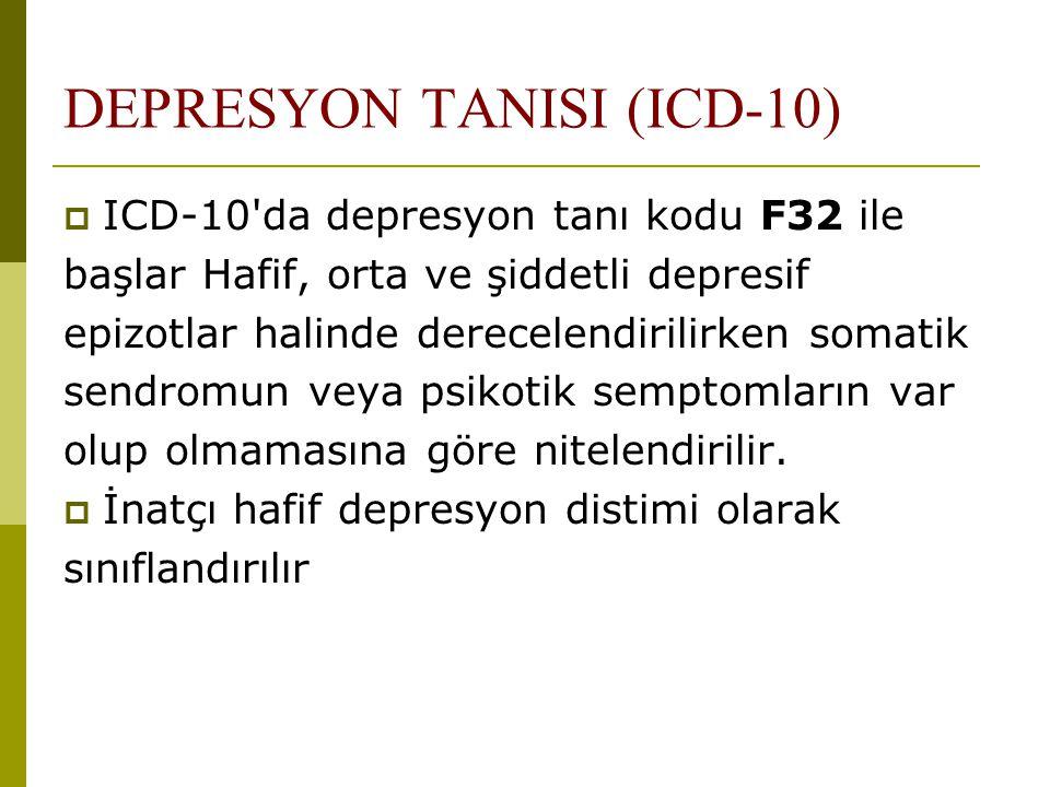 DEPRESYON TANISI (ICD-10)