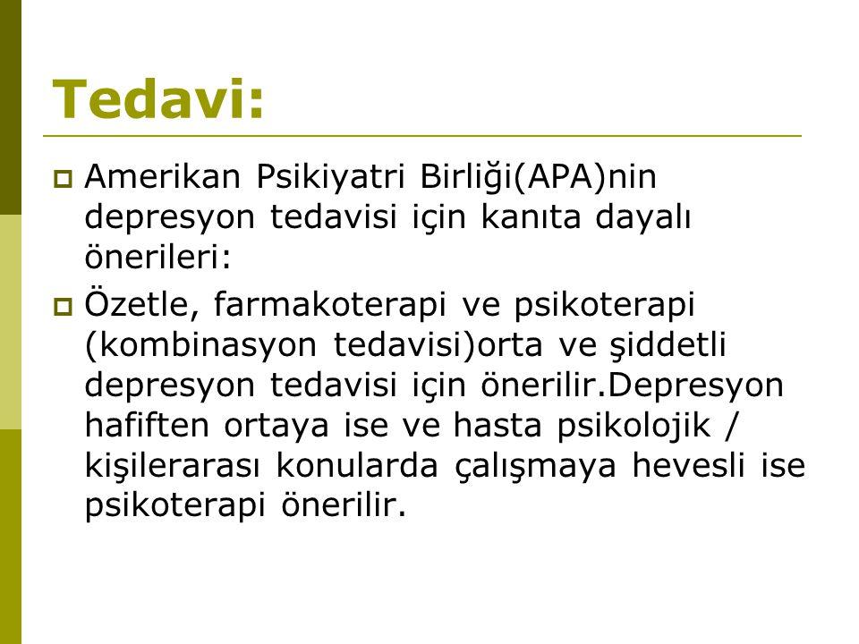 Tedavi: Amerikan Psikiyatri Birliği(APA)nin depresyon tedavisi için kanıta dayalı önerileri: