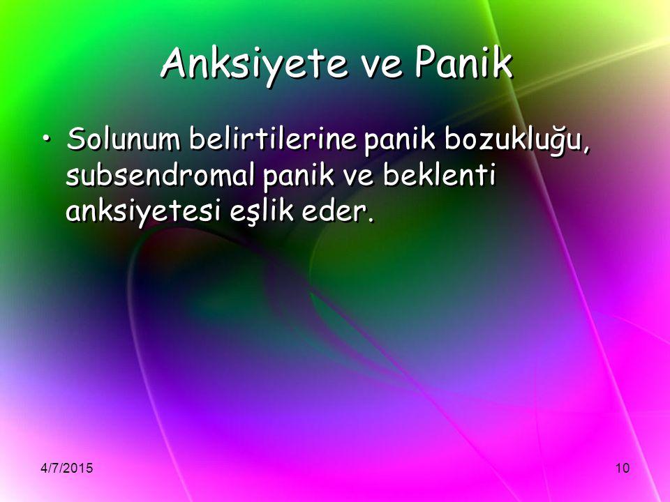 Anksiyete ve Panik Solunum belirtilerine panik bozukluğu, subsendromal panik ve beklenti anksiyetesi eşlik eder.