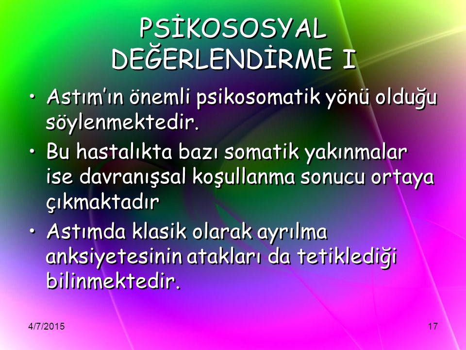 PSİKOSOSYAL DEĞERLENDİRME I