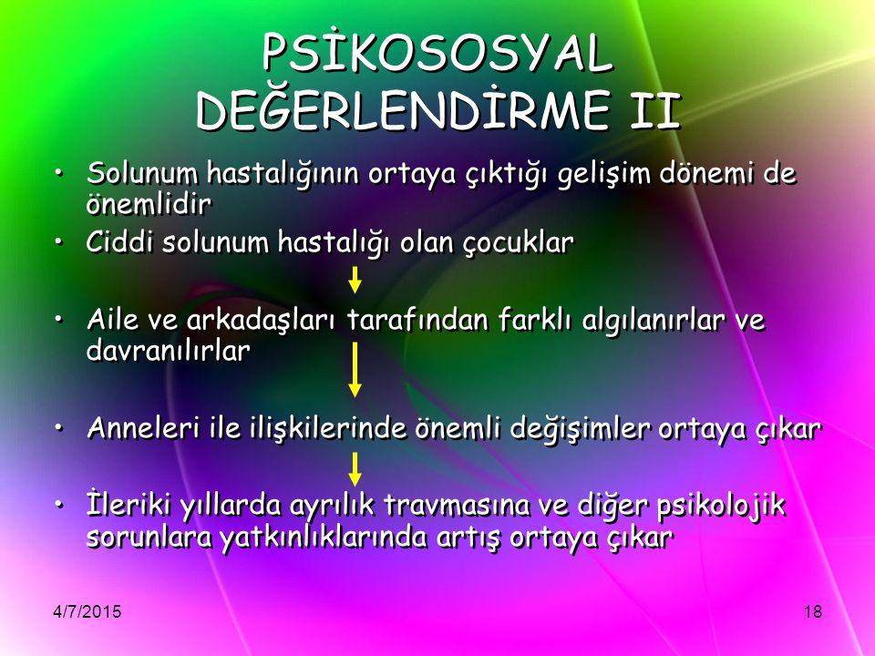 PSİKOSOSYAL DEĞERLENDİRME II