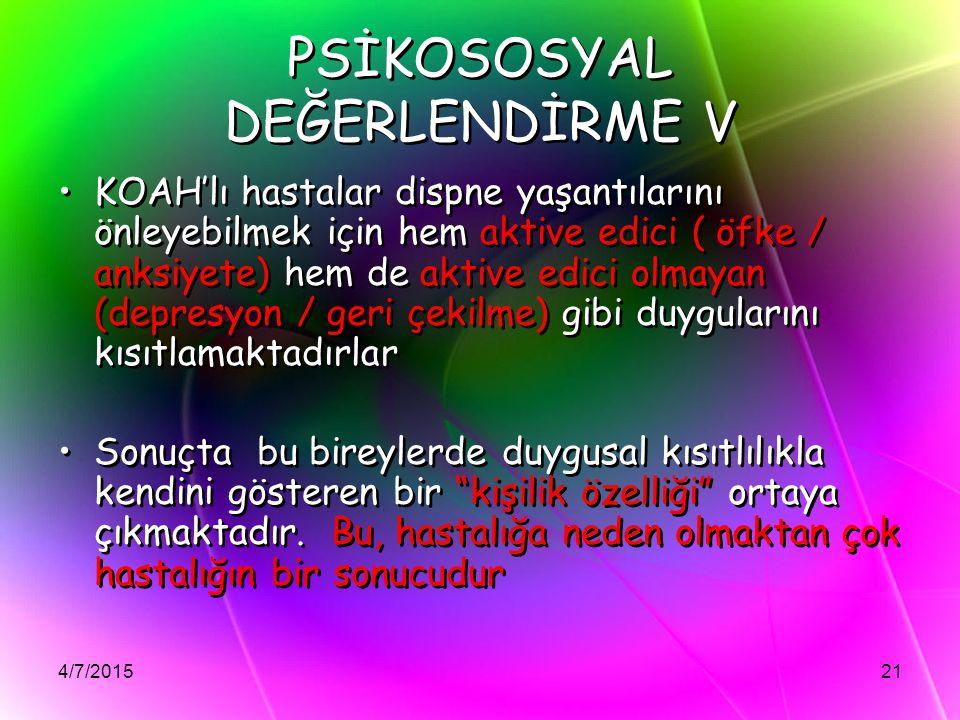 PSİKOSOSYAL DEĞERLENDİRME V