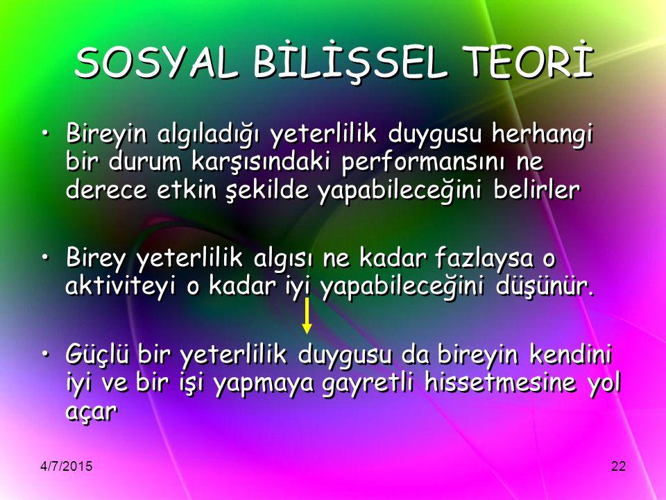 SOSYAL BİLİŞSEL TEORİ