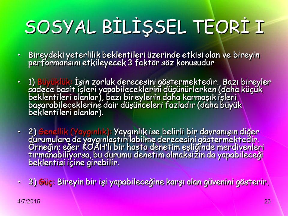 SOSYAL BİLİŞSEL TEORİ I