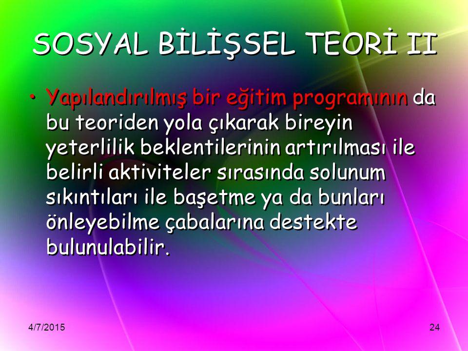 SOSYAL BİLİŞSEL TEORİ II