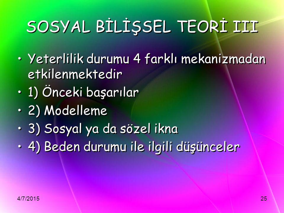 SOSYAL BİLİŞSEL TEORİ III