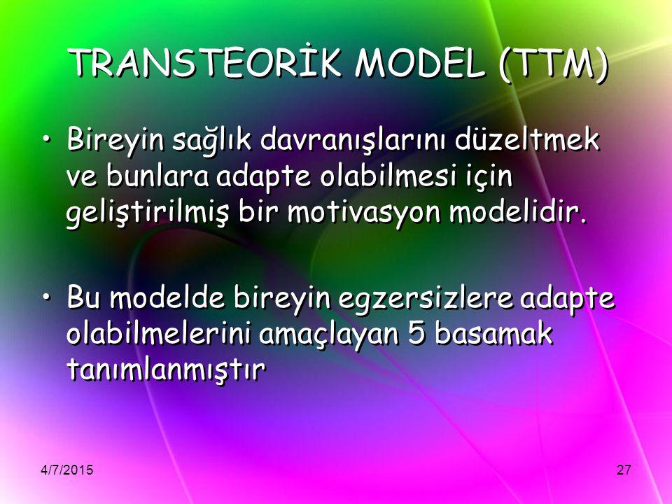 TRANSTEORİK MODEL (TTM)