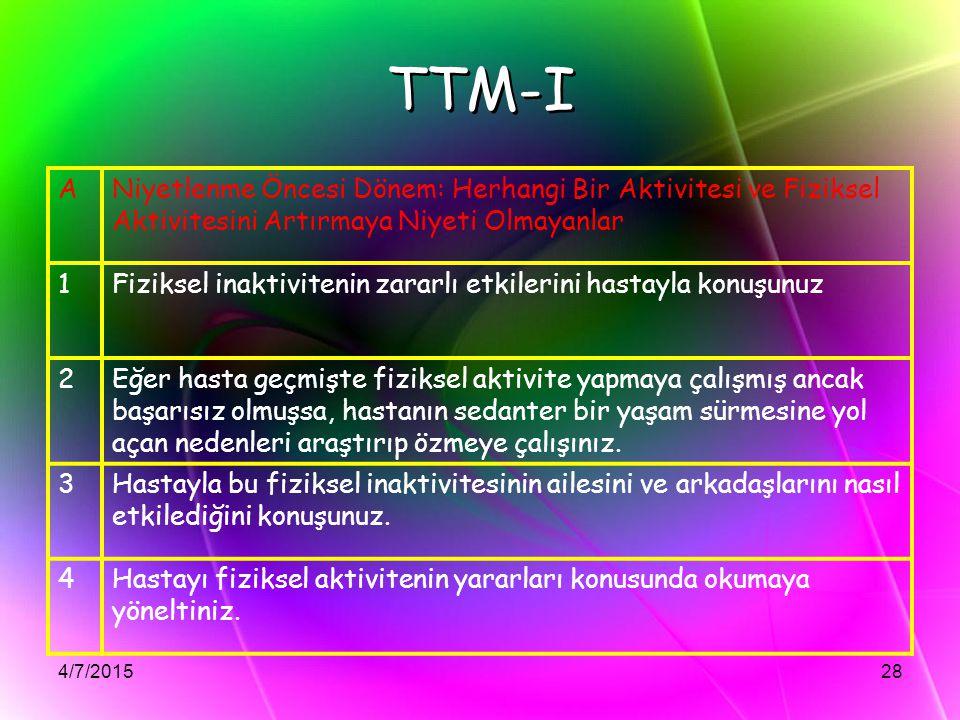 TTM-I A. Niyetlenme Öncesi Dönem: Herhangi Bir Aktivitesi ve Fiziksel Aktivitesini Artırmaya Niyeti Olmayanlar.