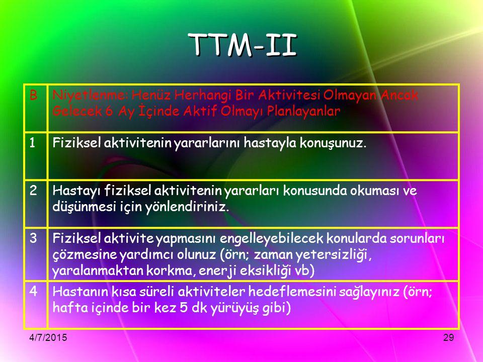 TTM-II B. Niyetlenme: Henüz Herhangi Bir Aktivitesi Olmayan Ancak Gelecek 6 Ay İçinde Aktif Olmayı Planlayanlar.