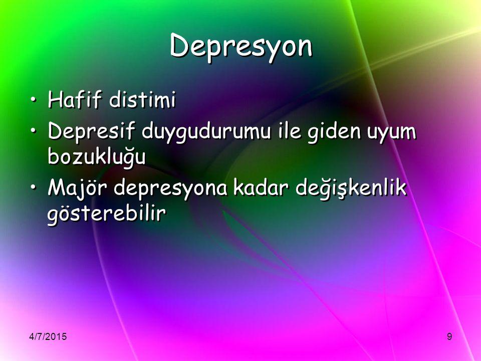 Depresyon Hafif distimi Depresif duygudurumu ile giden uyum bozukluğu