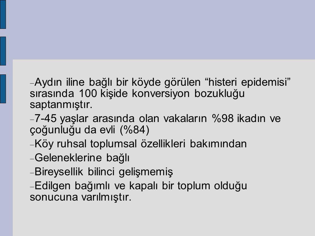 Aydın iline bağlı bir köyde görülen histeri epidemisi sırasında 100 kişide konversiyon bozukluğu saptanmıştır.