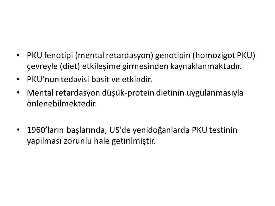 PKU fenotipi (mental retardasyon) genotipin (homozigot PKU) çevreyle (diet) etkileşime girmesinden kaynaklanmaktadır.