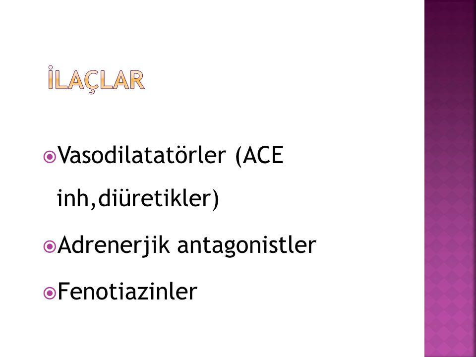 İLAÇLAR Vasodilatatörler (ACE inh,diüretikler)