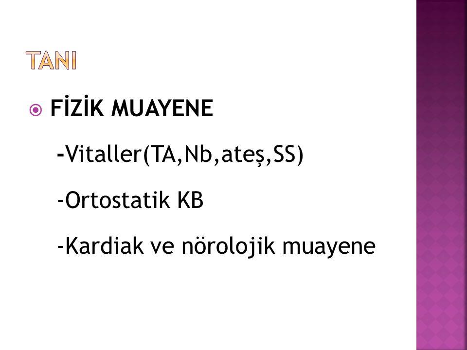 TANI FİZİK MUAYENE -Vitaller(TA,Nb,ateş,SS) -Ortostatik KB