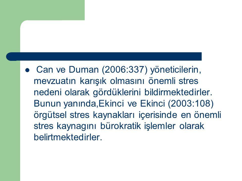 Can ve Duman (2006:337) yöneticilerin, mevzuatın karışık olmasını önemli stres nedeni olarak gördüklerini bildirmektedirler.