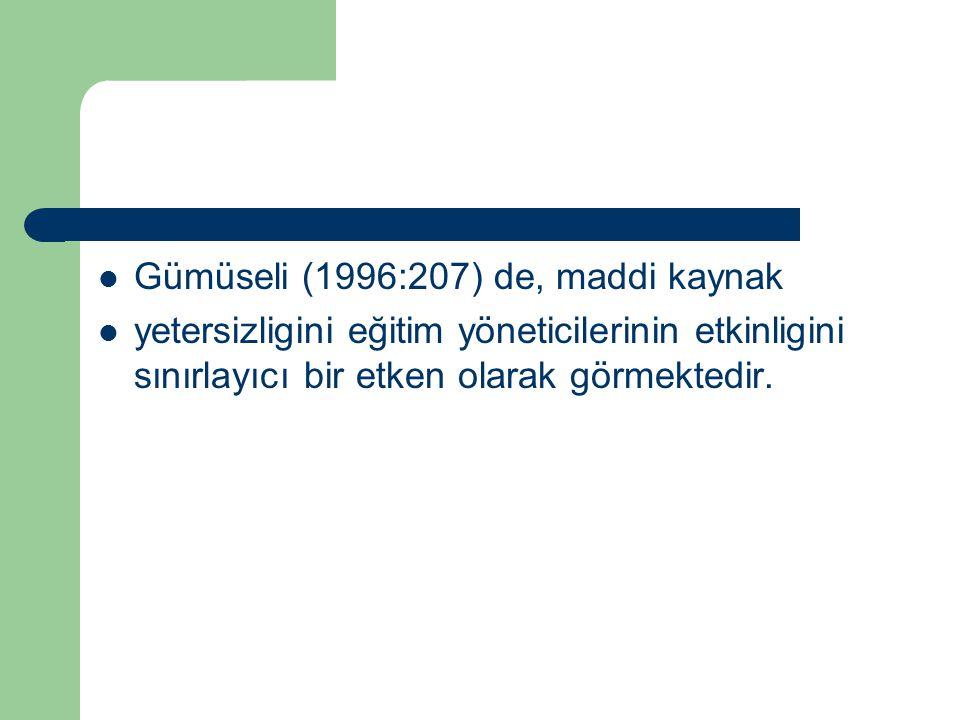 Gümüseli (1996:207) de, maddi kaynak