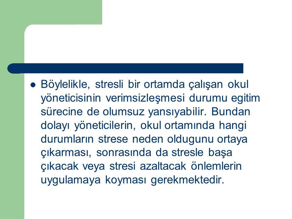 Böylelikle, stresli bir ortamda çalışan okul yöneticisinin verimsizleşmesi durumu egitim sürecine de olumsuz yansıyabilir.