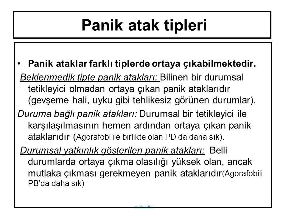 Panik atak tipleri Panik ataklar farklı tiplerde ortaya çıkabilmektedir.