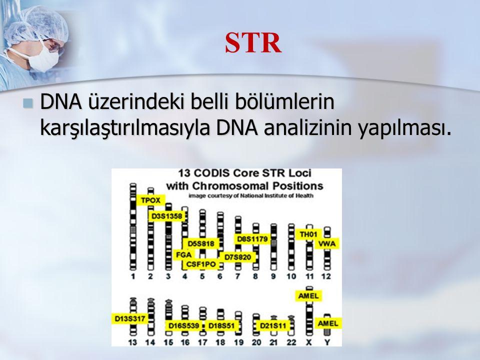 STR DNA üzerindeki belli bölümlerin karşılaştırılmasıyla DNA analizinin yapılması.