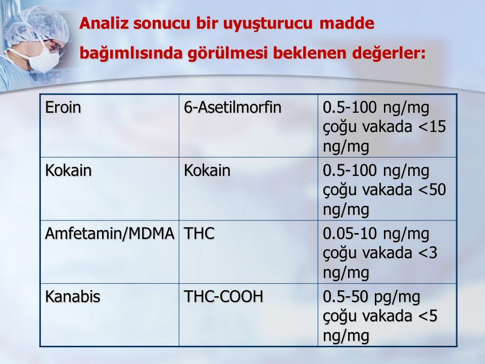 Analiz sonucu bir uyuşturucu madde bağımlısında görülmesi beklenen değerler:
