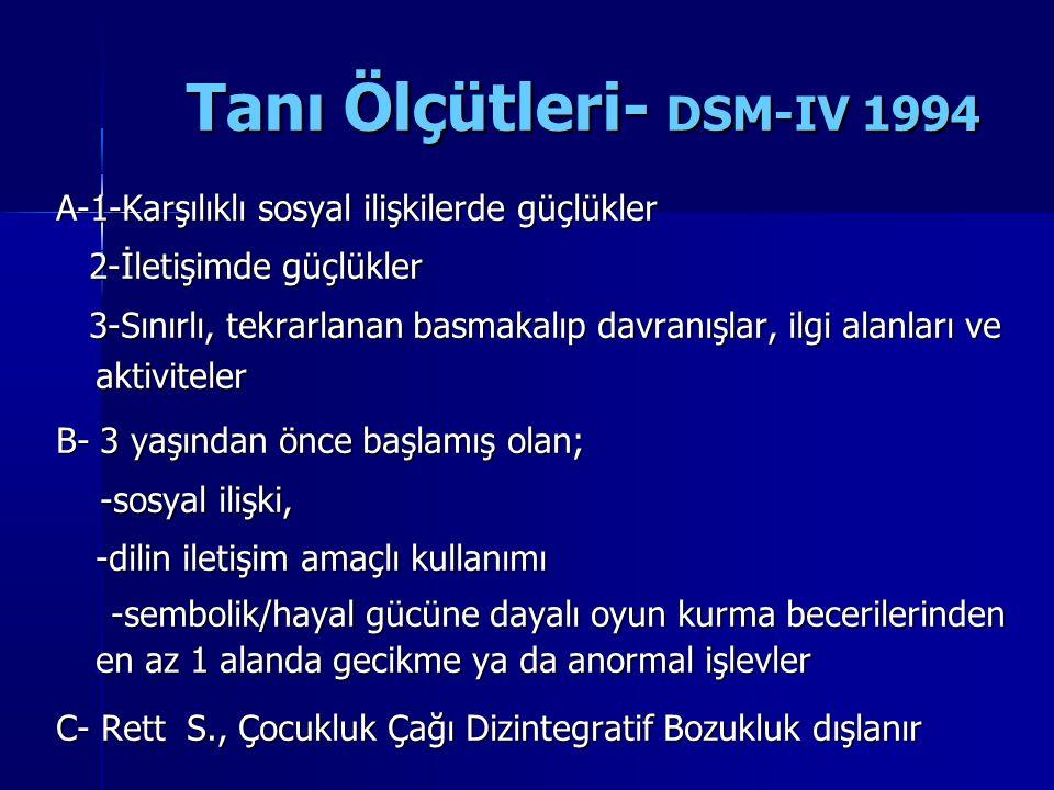 Tanı Ölçütleri- DSM-IV 1994